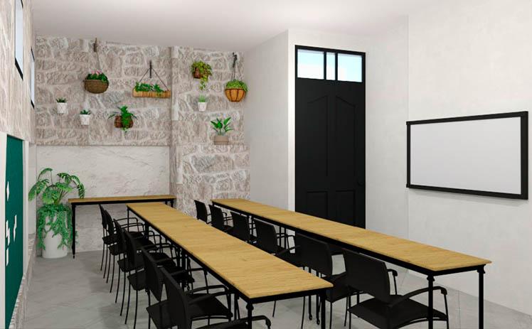 Esta imagen muestra la Sala de formación para conferencias o presentaciones en Tribu, tu espacio coworking