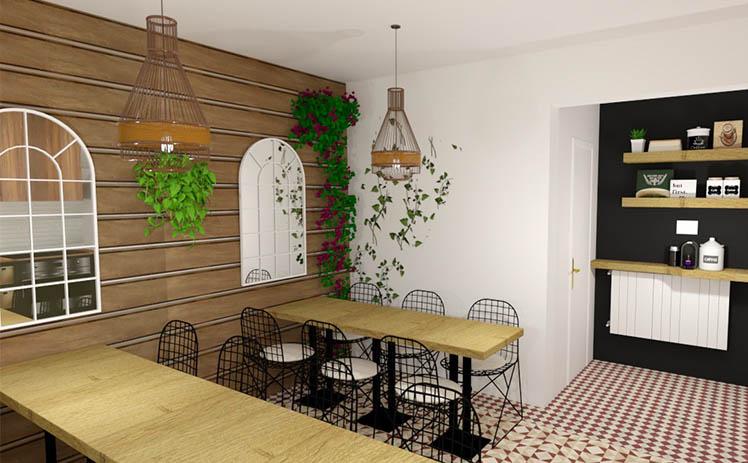 imagen que muestra la Cocina y zona de cafetería restauración en Tribu, tu espacio coworking