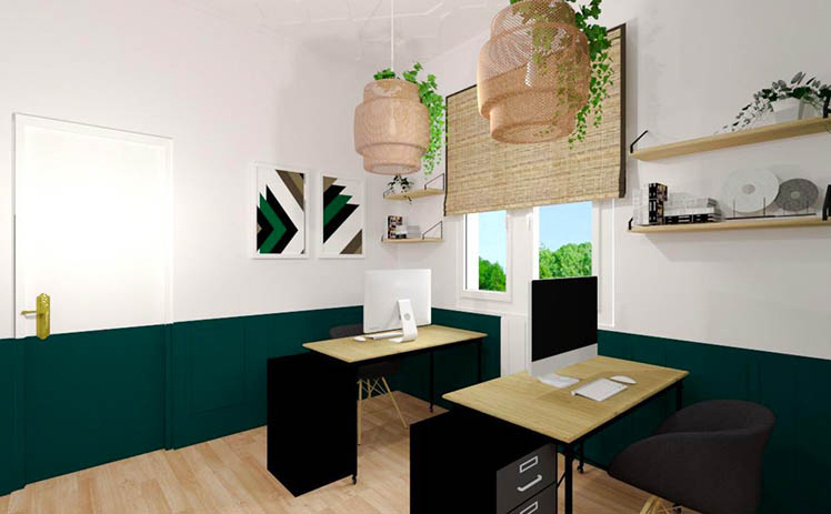 Esta imagen muestra la Sala con puestos individuales en Tribu, tu espacio coworking