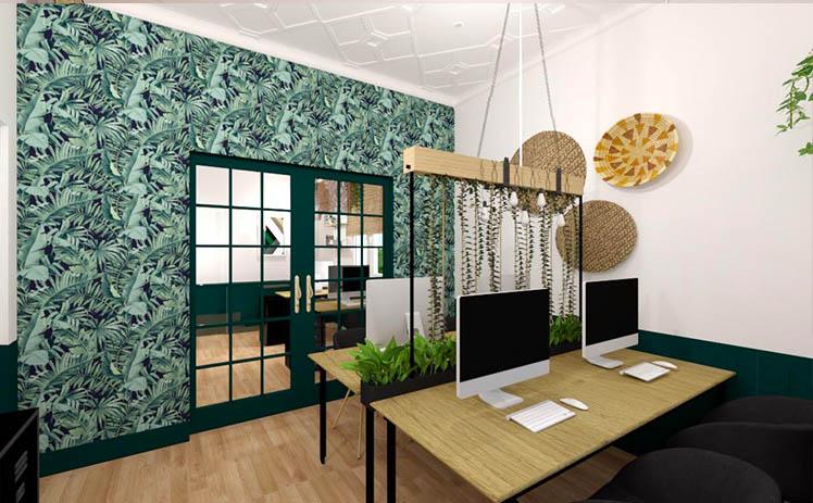 Esta imagen muestra una Sala de puestos fijos en mesa compartida en Tribu, tu espacio coworking